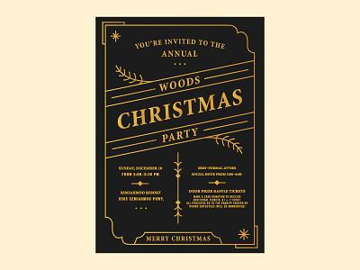 Christmas Invite invitation party holiday coffee woods line art border christmas letterpress invite