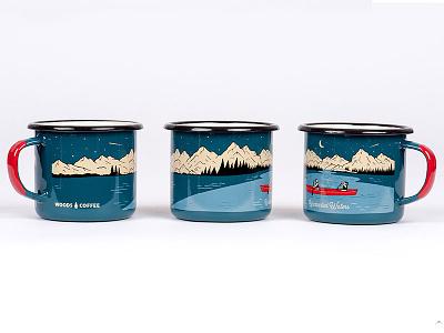Open Waters canoe mountains illustration coffee cup tin camp mug mug woods coffee enamel