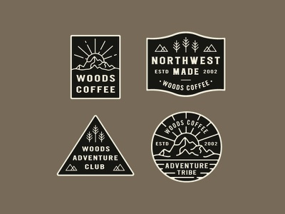 From The Archives outdoor trees sticker shapes northwest seal explore coffee woods logo badges