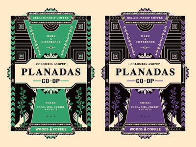 Coffee Labels packaging tribal coffee plant southwestern southwest hand drawn branding tag label planadas ethnic coffee