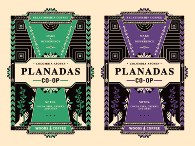 Coffee Labels packaging tribal coffee plant southwestern southwest hand drawn branding tag label planadas ethnic coffee