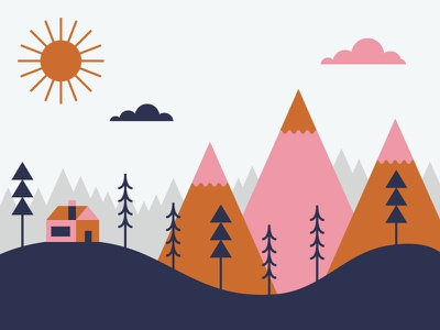 Cabin in the Woods landscape colors sun cabin mountains trees card gift card woods coffee