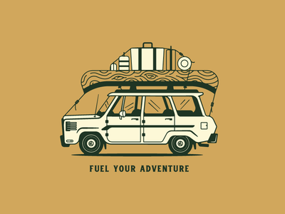 Fuel Your Adventure jeep canoe woods coffee coffee illustration lettering type camping car gift card