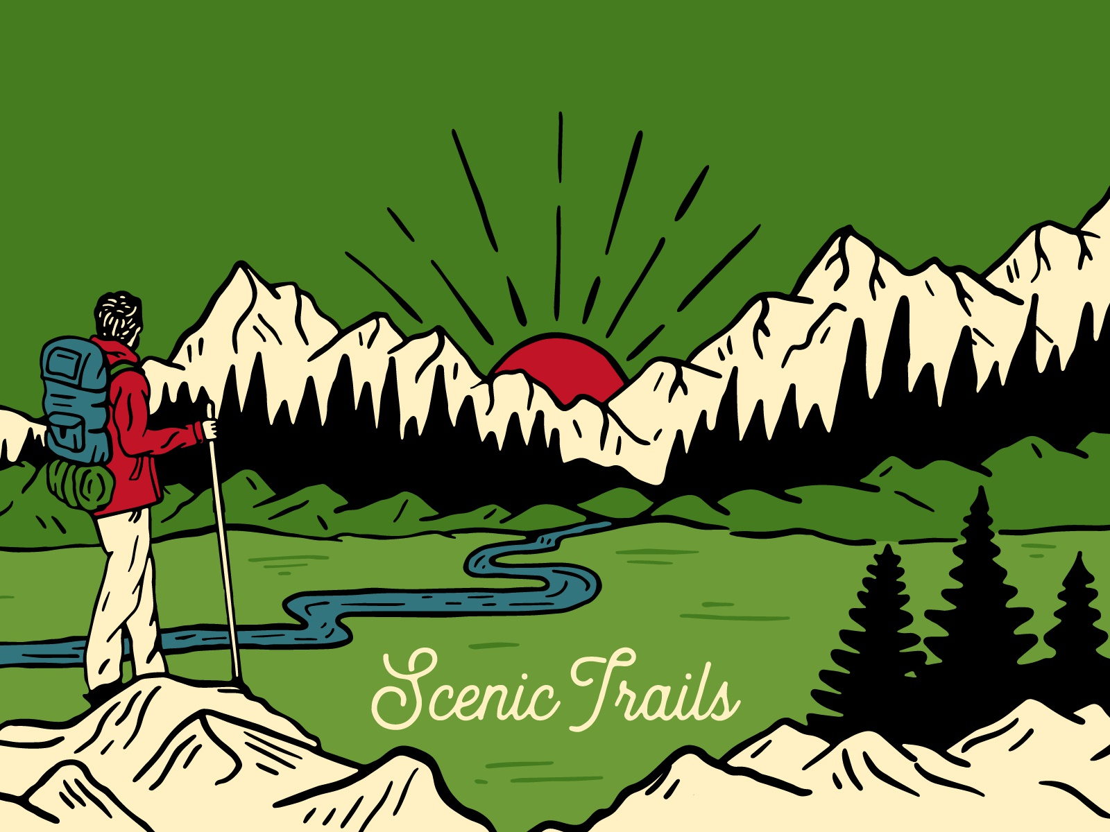 Scenic Trails mug coffee sunrise trees hand drawn mountains hiker hike