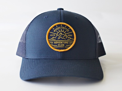 Hat Patch patch design outdoor patch adventure sunset mountian coffee woods logo badge patch