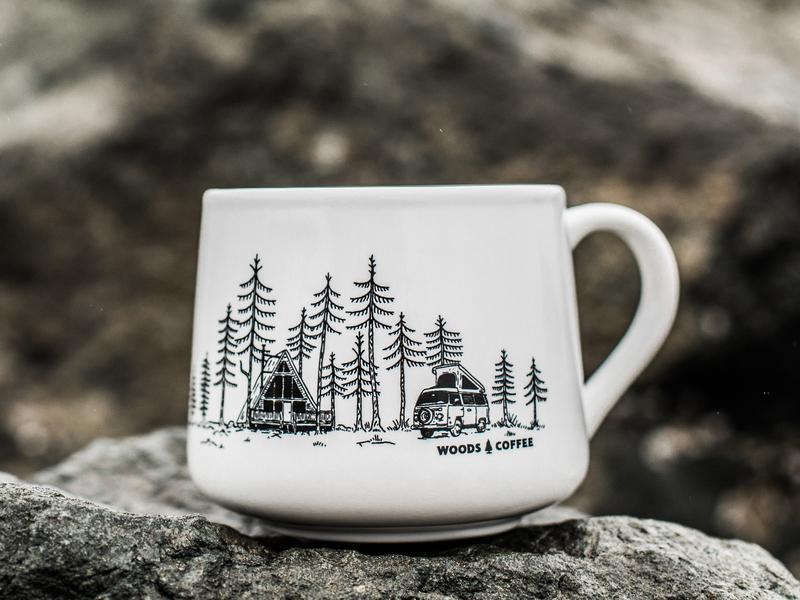 Cabin Mug coffee mug merch design vw bus vw hand drawn trees camping cabin a-frame mug