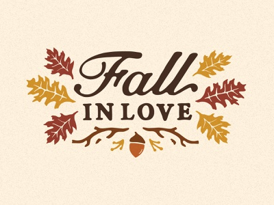 Fall In Love woods handdrawn acorn font typography type leaves fall
