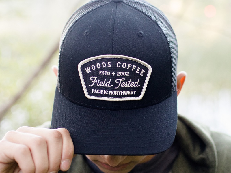 6dec0d34 Woods Coffee - Hat Patch lockup simple band merch badges pacific northwest  coffee woods woods coffee