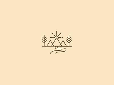 Scenic Trails - Icon badge merch trail road trees sunrise mountain icon