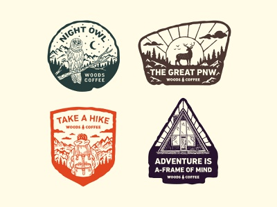 Northwest Badges handdrawn coffee aframe backpack hiker owl outdoor adventure deer logo pnw northwest badges