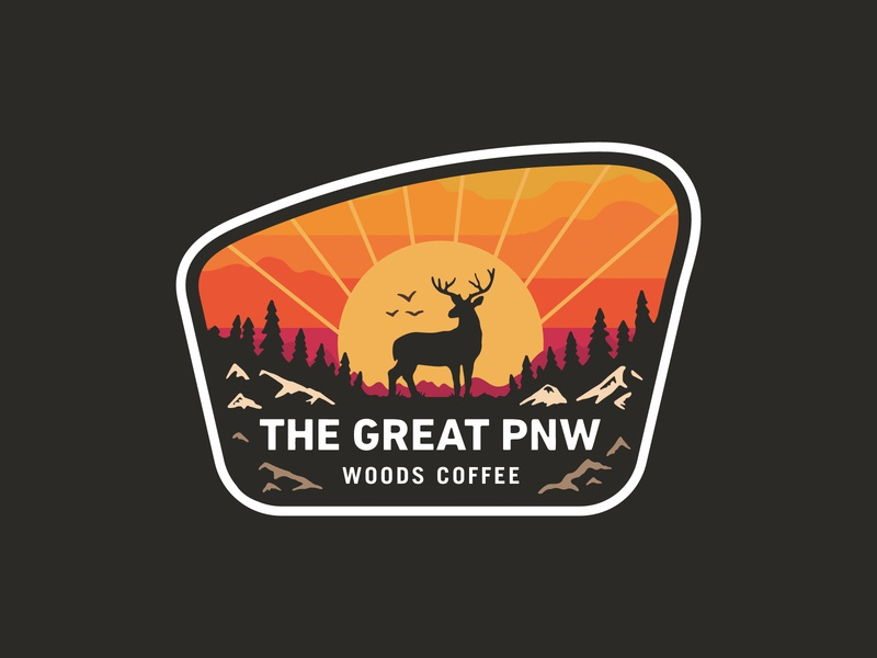 The Great PNW - Sticker hat patch coffee badge merch deer logo patch sunset trees outdoor pnw deer sticker