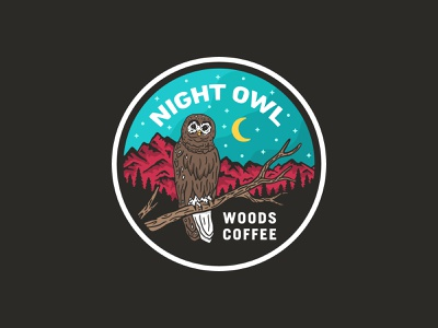Night Owl - Sticker badge outdoor trees night moon mountain owl stickers patch hat patch
