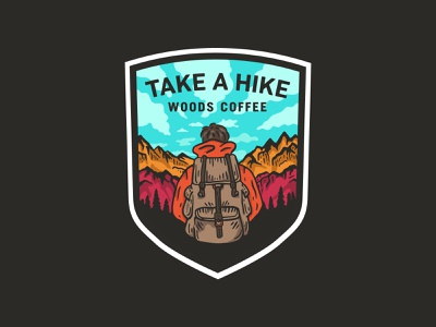 Take A Hike - Sticker patch sticker clouds sky trees mountain backpack hiker badge design badge