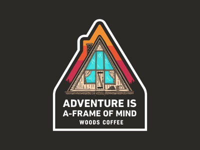 A-Frame Of Mind - Sticker sticker badge hat patch patch outdoors trees sunset cabin a-frame