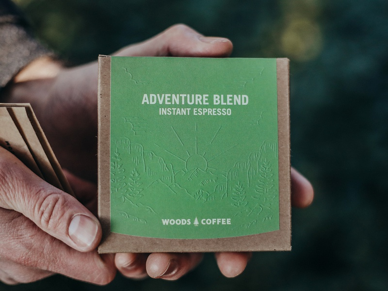 Adventure Blend handdrawn trees sunrise mountain illustration coffee bag instant espresso coffee to go packaging coffee