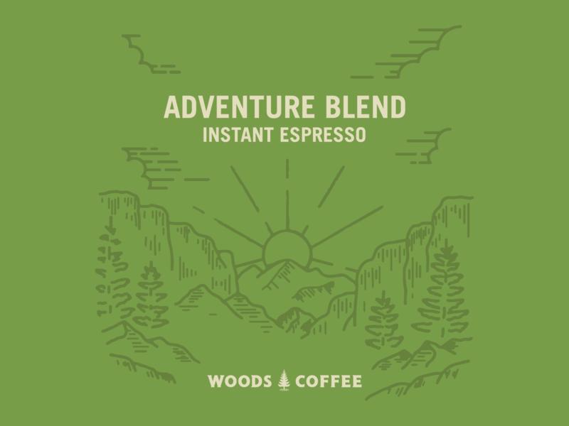 Adventure Blend sunrise sunset mountains coffee trees instant espresso adventure blend