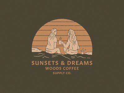 Sunsets & Dreams hoodies shirt merch people character illustration coffee girls dreams sunset woods coffee
