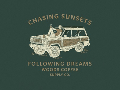 Chasing Sunsets handdrawn merch hoodie shirt coffee character illustration jeep sunset