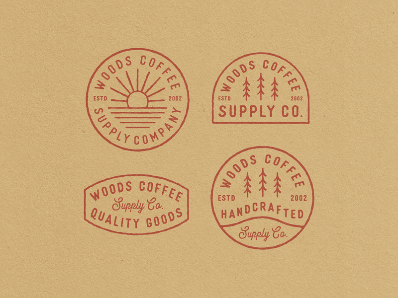 Handcrafted Badges supply outdoor pnw trees patches logo lockups woods coffee badges