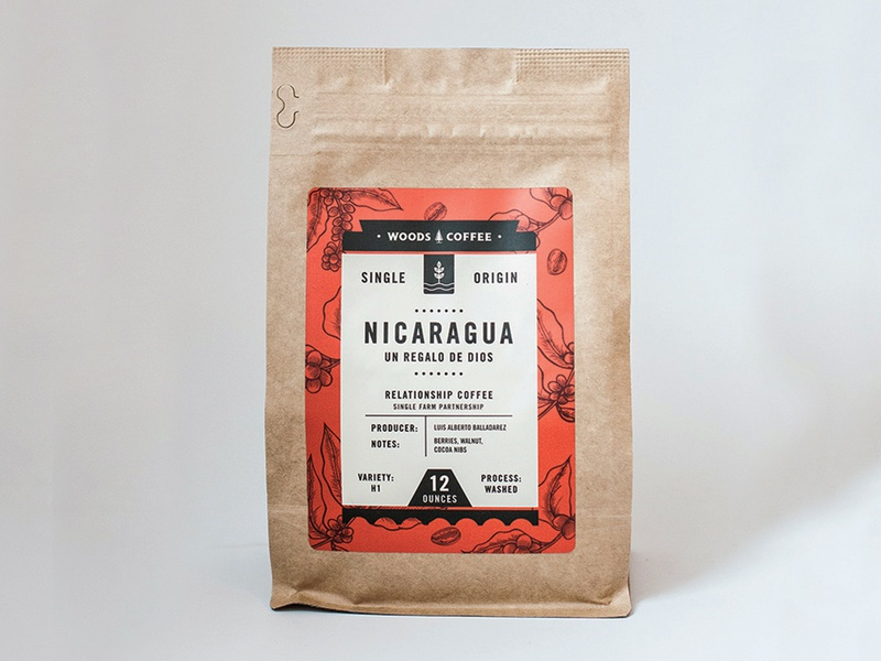 Nicaragua Single Origin Label packaging coffee beans typography label coffee bag coffee