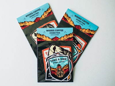 Sticker Pack - Packaging Design deer woods coffee coffee northwest pnw mountains hiking badge sitckers sticker pack packaging