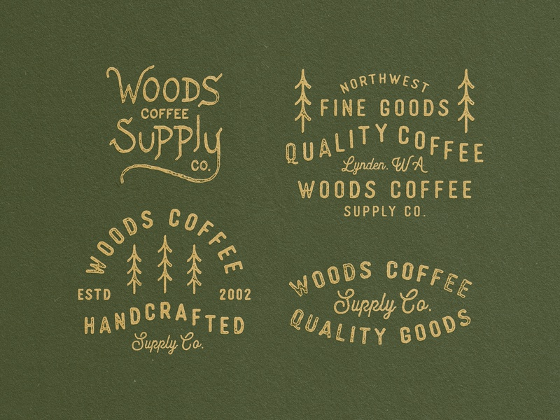 Woods - Lockups merch supply type handdrawn typography lockups woods coffee woods trees badges badge