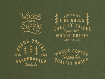 Woods - Lockups merch supply type handdrawn typography lockups woods coffee woods trees badges badge