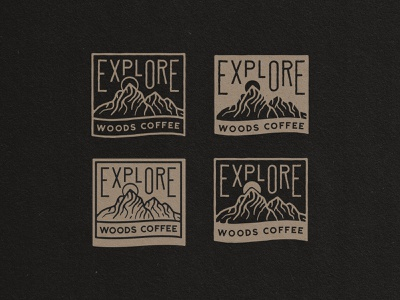 EXPLORE - Badges sunrise mountain custome type typography sticker badge logo design
