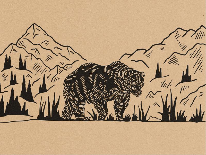 Bear Illustration shirtdesign illustration handdrawn trees mountain mug design merch bear