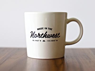 Made In The Northwest - Mug lockup logo mountain merchandise typography mug