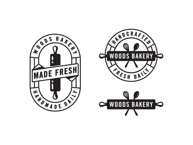 Woods Bakery - Branding spoonflower rolling pin badge logo coffee woods bakery branding