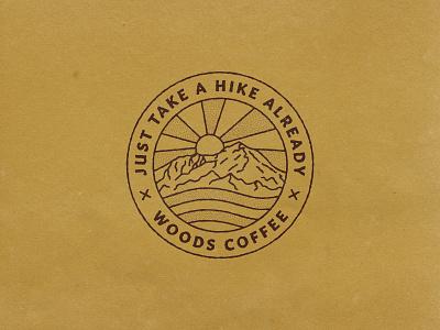 Take a Hike Already logo lockup merch patch outdoor sunset mountain woods coffee hiking hike badge