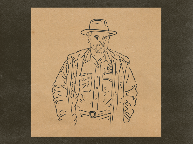 Hopper ipad pro character hand drawn illustration hopper stranger things