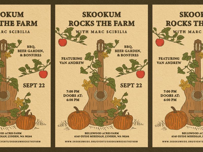 Rocks The Farm - Poster Design music poster tour poster van andrew show handdrawn apple pumpkin fall farm poster design poster