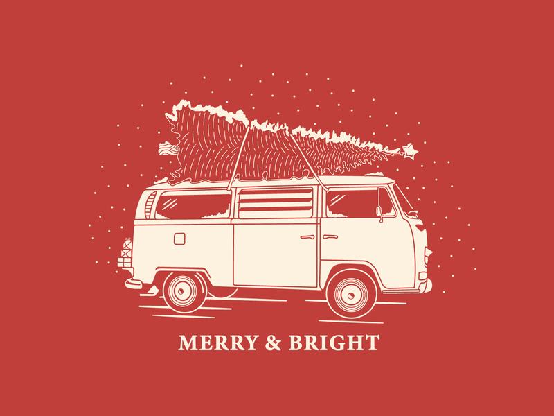 Merry & Bright Mug snow snowflake tree volkswagen christmas mug