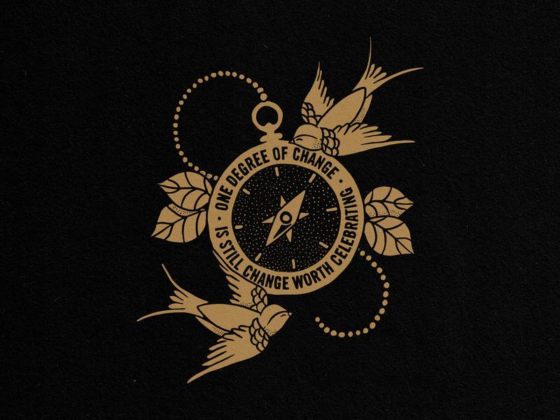 One Degree of Change shirtdesign illustration handdrawn watch compass time swallows bird change