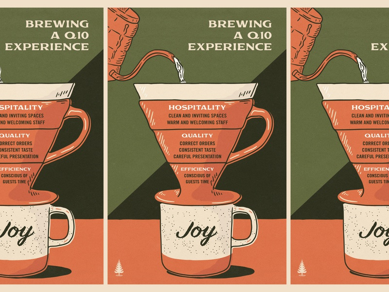Brewing a Q10 Experience pour over illustration coffee company coffee