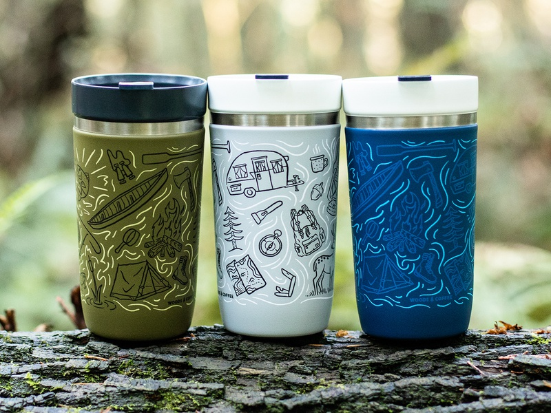 Pattern - Stanley Tumbler hand drawn coffee cup camping fire pattern stanley merch
