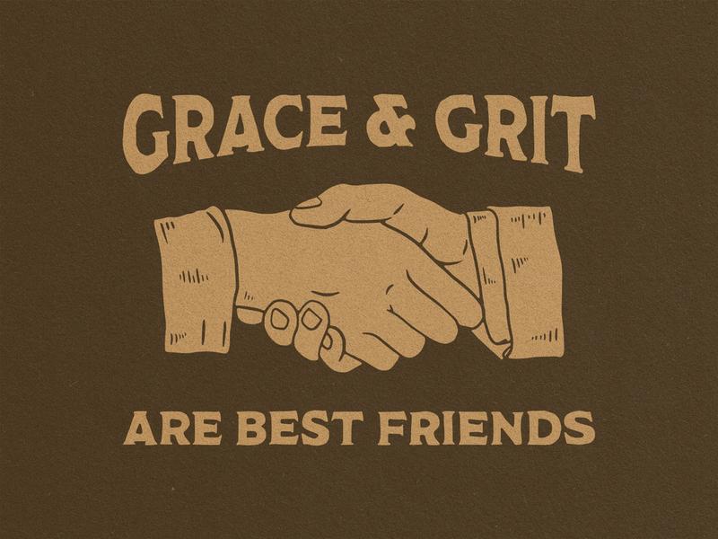 Grace and Grit custom type hand type handshake hands illustration