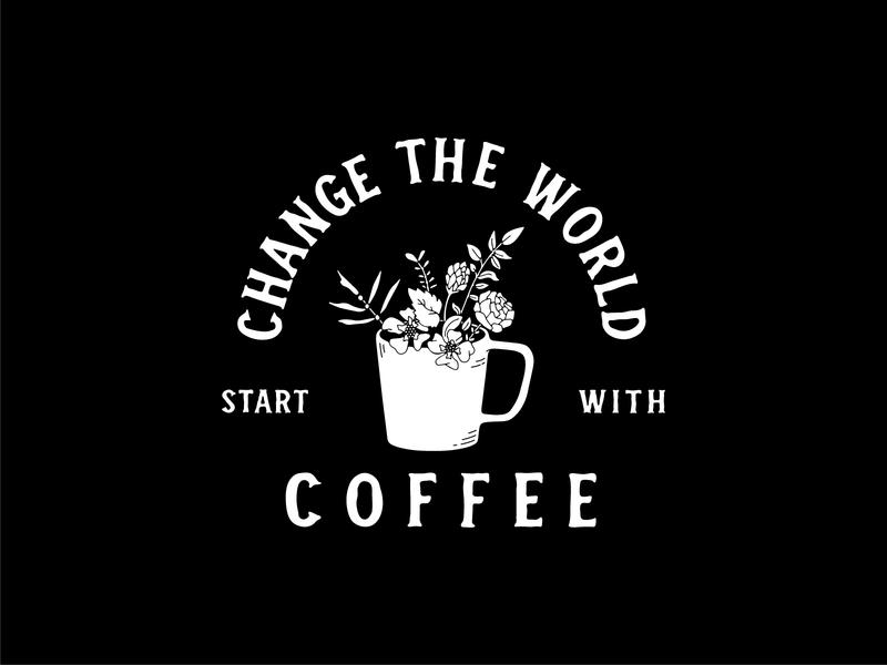 Start With Coffee illustration flower handdrawn typogaphy mug woods coffee