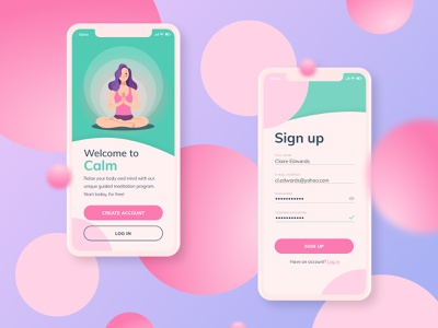 Daily UI Challenge - Day 1: Sign-up page sign up meditation calm mobile ui ui app dailyui