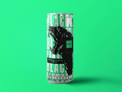 Inner Fierce Packaging - Black Panther bold color food and drink packaging cats animals wildlife panther black panther illustration art illustrator logotype branding design logos branding logo design logodesign brand identity logo brand illustration