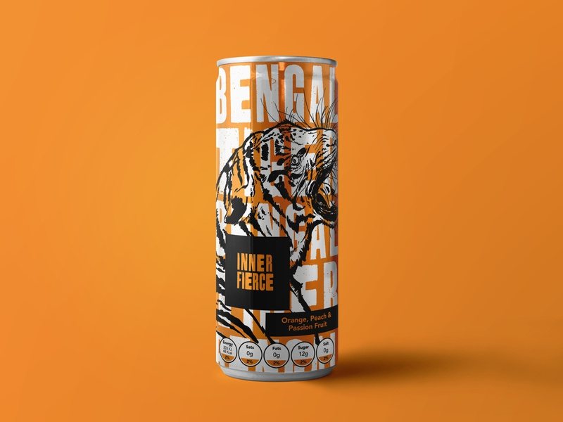 Inner Fierce Packaging - Bengal Tiger wildlife animals can packaging packaging design drinks tiger mascot tiger pen and ink illustrator logos branding design illustration art branding logo design logodesign brand identity logo brand illustration