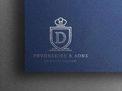 Devonshire & Sons Logo Design badge logo badge logo mark luxury foiling visual identity identity silver foil silver bathroom kitchen branding design logotype logos branding logo design logodesign logo brand identity brand