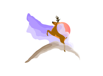 Sky Jump Deer Illustration Concept