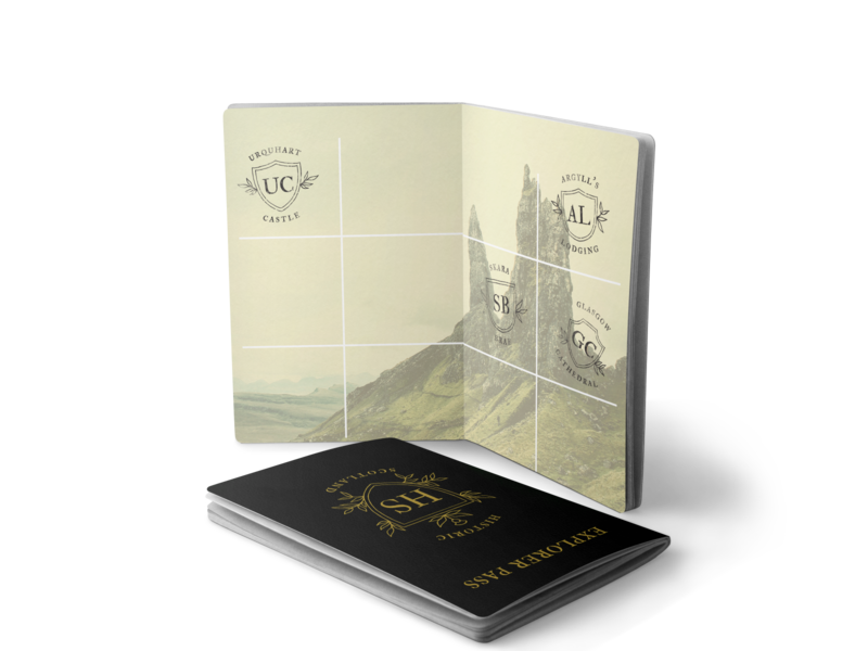Historic Scotland Explorer Pass branding and identity publication design layout design book design typography