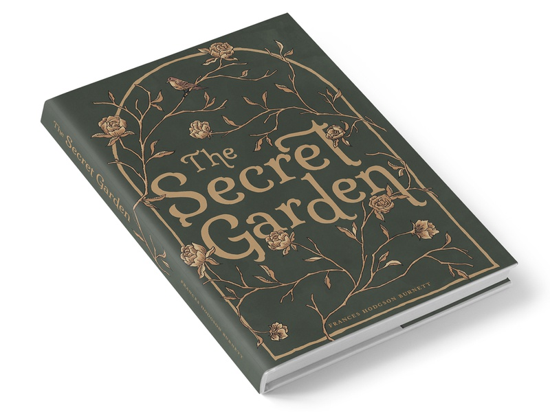 The Secret Garden dust jacket book cover publication design layout design illustration hand lettering book design typography