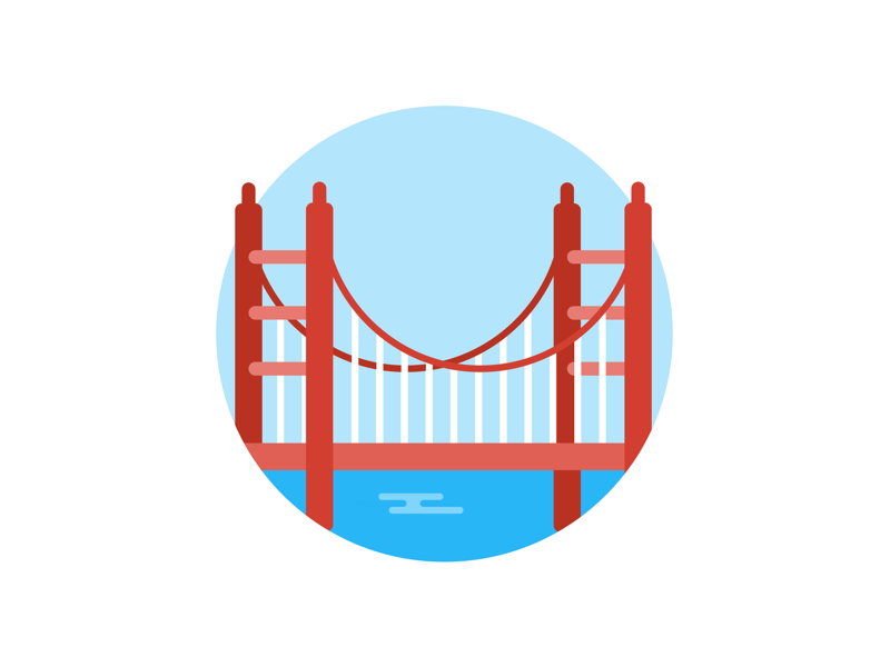 Places: Golden Gate Bridge bridge tourism flat icon illustration
