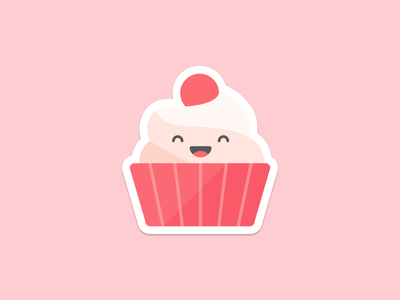 Lady Cupcake! sticker icon food dessert flat illustration cupcake