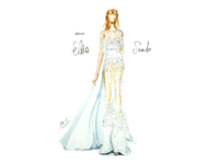 [19/100] Elie Saab marker drawing painting fashion illustration handdrawn